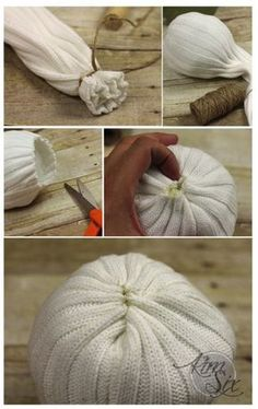 Easy No Sew Knit Sweater Pumpkins - Kürbisse - amazing craft Easy Fall Crafts, Fall Crafts For Kids, Thanksgiving Crafts, Summer Crafts, Sweater Pumpkins, Fall Pumpkins, Diy Pumpkin, Pumpkin Crafts, Fall Projects