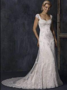 Charming Custom-Made A-line Cap Style Sweetheart Lace Satin Court Train Wedding Dress