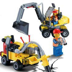 196 unids Ensamblar Bloques de Construcción de La Ciudad de Equipo de Ingeniería Excavadora de Juguete de DIY Pequeñas Partículas Temprana Juguete Educativo para Los Cabritos Niños