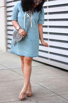 Chambray lace-up dress