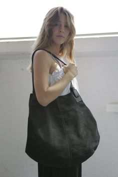 Black Leather Tote Bag- Soft Leather Bag - Big Black Nubuck Leather Bag - Shoulder Bag - Over Size Bag - Carolina Bag