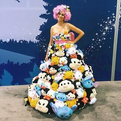 The #TsumTsumDress, complete with pink hair and Tsum Tsum hair pieces! #disneystyle #D23EXPO @Disneystore