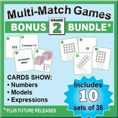 Grade 2 Card Sets for Place Value, Time, Equal Parts & More! Enter for your chance to win 1 of 3. BONUS Bundle: Grade 2 Multi-Match Math Games for Common Core  (114 pages) from K-8 MathPaths on TeachersNotebook.com (Ends on on 06-27-2015) Kids love to match cards that show numbers, models, and expressions as they do activities and games. This BUNDLE includes 10 sets of 36 cards. Try the FREE preview.