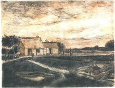 Vincent van Gogh: Barn with Moss-Grown Roof. Drawing - Black chalk, pencil, pen heightened with white and gray. Etten: April - May, 1881 Museum Boymans van Beuningen Rotterdam, The Netherlands.