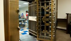 San Mateo-based Coupa, an e-procurement start-up, converted an old bank into its home office. This vault still locks, as they found out the hard way after moving into the space.