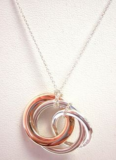 NEW AUTHENTIC TIFFANY & CO Sterling Silver Rose Gold Plated Rubedo Necklace at www.ShopLindasStuff.com