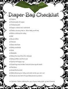 diaper bag checklist pdf  Baby Checklists: Postpartum Checklist | Pinterest | Birth, Pdf and ...