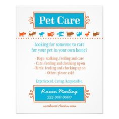 Pet Care Flyer Colorful Animal Silhouettes by Woodswalker