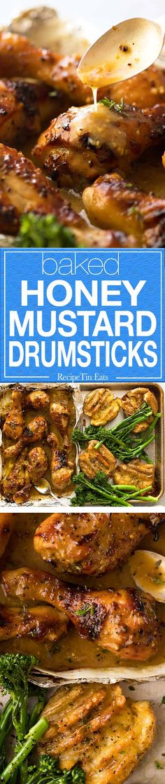 Sticky baked Honey Mustard Drumsticks AND crispy smashed potatoes, made on ONE TRAY!