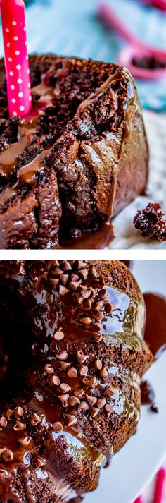 Death By Chocolate Bundt Cake from The Food Charlatan. You would not believe that this incredibly chocolatey cake is made from a cake mix! It is so moist it's ridiculous. The ganache topping (instead of frosting) just puts it over the top. Don't even think about eating this without a glass of milk. It would be perfect to make for birthdays, holidays like Christmas, Thanksgiving, Easter...because is chocolate cake really ever out of season? It's so easy and fast!
