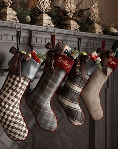 Christmas stockings add ribbon to banisters and fill them
