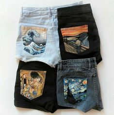 Hand Painted Denim Shorts by Alba González on. Painted Jeans, Painted Clothes, Painted Shorts, Hand Painted Shoes, Diy Fashion, Fashion Outfits, Womens Fashion, Fashion Fall, Art Hoe Fashion