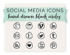 Social Media Icon Set Hand Drawn Black by HeartandArrowDesign