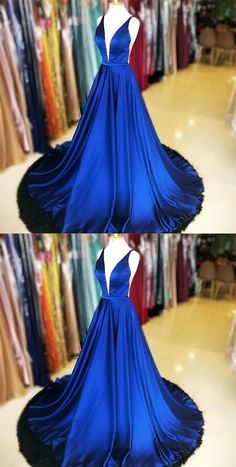 Charming V neck Simple Evening Dress with Sleeveless, Sexy Sweep Train Long Prom Dress, Shop plus-sized prom dresses for curvy figures and plus-size party dresses. Ball gowns for prom in plus sizes and short plus-sized prom dresses for Royal Blue Prom Dresses, Prom Dresses With Sleeves, Blue Dresses, Bridesmaid Dresses, Dress Prom, Formal Dresses, Dance Dresses, Elegant Dresses, Dress Long