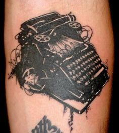 Typewriter, for the writer. Typewriter Tattoo, Graffiti Tattoo, Deathly Hallows Tattoo, Cool Tattoos, Tatting, Body Art, Ink, Typewriters, Tattoo Ideas