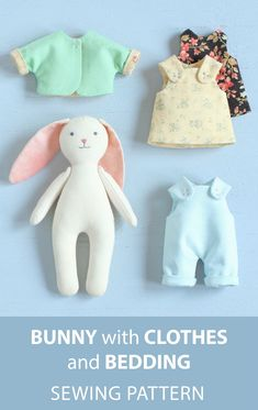 #stuffedtoyspatterns SPECIAL OFFER: MINI BUNNY with SET of CLOTHES + BASKET with BEDDING — 2 PDF SEWING PATTERNS & TUTORIALS Save when you buy the patterns together! Following the patterns included in this bundle, you can sew a cute mini bunny doll with a set of clothes and a cozy sleeping basket with bedding. The set of clothes includes 4 pieces: a dress, a sundress, an overall, and a jacket. The jacket looks great when worn with the dress, or with the sundress, or with the overall also, so…