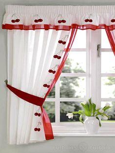 Red & White Cherry Embroidered Kitchen Curtain Pelmet