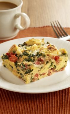 a healthier Easter brunch idea - Florentine strata made with Egg Beaters...yum.