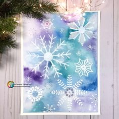 Wet-on-wet watercolor; snowflakes traced and painted with opaque white ink (or just use paper cutouts) Watercolor Beginner, Kids Watercolor, Watercolor Cards, Watercolor Paintings, Watercolors, Snowflake Coloring Pages, Painting Snowflakes, Winter Art Projects, Watercolor Christmas Cards