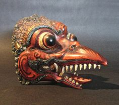 Vintage Polychrome & Wood Bird Mask Bali, Indonesia