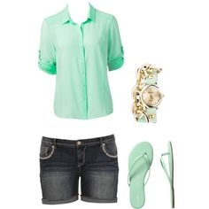 minty fresh - Polyvore I love this colour and i love how the shorts aren't toooo short cuz its just so slutty when girl's buts are hanging out of their shorts
