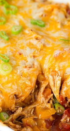 Stacked Chicken Enchiladas Recipe ~ Stacked chicken enchiladas are the way to go if you're craving Mexican and don't want all the prep time that's involved in regular enchiladas...