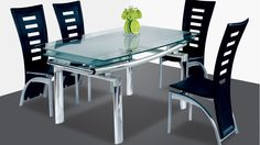AtHome DT103 + DC228 Diningroom Set - Enjoy your home living space more with an At-Home D103L Clear Dining Room Table to bring beauty and ambiance to any contemporary or modern dining room. This D103L Dining Room Table is also available with a black top. The D103L Clear Dining Room Table Features a modern extend-able table and tempered clear glass.  Size : Dining Table : 55 / 78.5 x 31.5 x 29.5