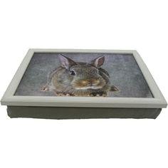 dienblad met kussen bruin konijn, laptray afbeelding konijn