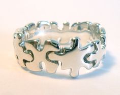 Silver Puzzle Ring Sterling Silver Jigsaw Puzzle Ring by MartaMoon