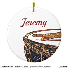 Custom Name Drummer Christmas Snare Drum Ornament