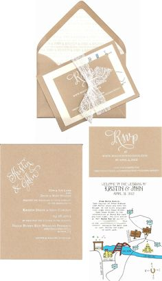 Simple Type White Ink And Brown Card Linen Lace Love Find This Pin More On Rustic Wedding By Dmoore8114 Invitation Suite Is So Cool