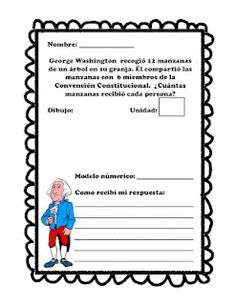 Story problem writing in Spanish incorporating George Washington's b'day