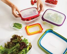 Joseph Joseph Nest Compact Food Containers have colour-coded lids that match the same sized bases. Lids clip together for storage. Containers nest for easy storage. Space Saving Kitchen, Space Saving Storage, Lid Organizer, Joseph Joseph, Storage Sets, Storage Room, Lunch To Go, Food Storage Containers, Kitchen Organization