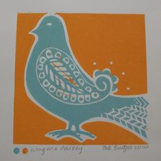 Bird lino cut. Nice definition without a dark color. Also... Love the two color dot by signature.