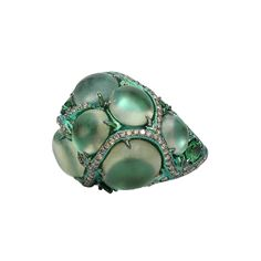 Prehnite Ring Encased in Tsavorite | ARUNASHI