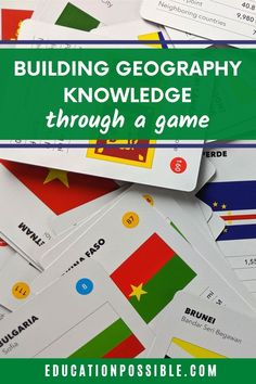 If you're looking for a way to help your tween learn world geography, play The World Game. It's a fun and educational card game that kids will enjoy. The game is awesome for building geography fact mastery for countries, flags, map locations, and more. Tweens will enjoy challenging their friends and family to see who has the most geography knowledge. Geography Games, Geography Lessons, World Geography, School Sets, High School, Fun Learning, Learning Activities, Middle School Geography, Educational Board Games