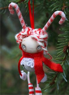 Red Candy Cane Girl Christmas ornament