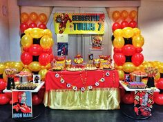 The mesmerizing 31 Best Ironman Party Images Iron Man Theme, Iron Man Party, Ninja Birthday Parties, Superhero Birthday Party, Manly Party Decorations, Party Themes, Birthday Decorations, Party Ideas, Iron Man Birthday
