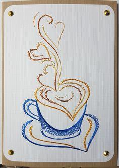 Fadengrafik - GrußKarten - Set mit dem abgebildeten Fadengrafik-Motiv  bestehend aus: 1 Doppelkarte / Klappkarte im Format A6 (10,5 x 14,8cm) 1 passender Briefumschlag (je nach Verfügbarkeit)...