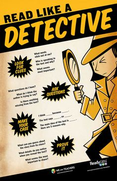Close Reading Classroom Poster - WeAreTeachers Read Like a Detective. Reading Resources, Reading Strategies, Reading Skills, Guided Reading, Teaching Reading, Reading Comprehension, Reading Habits, Close Reading Poster, Reading Posters