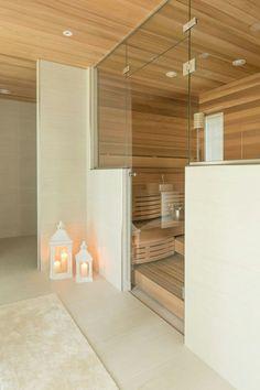 Asuntomessut 2016 Sauna Design, Finnish Sauna, Spa Rooms, Chalet Style, Bathroom Inspiration, Shower, Interior Design, Swiss Chalet, Saunas