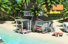 Sims 4 House Building, Sims House Plans, Boat Building, Tiny Beach House, Sims 4 House Design, Casas The Sims 4, Sims Four, Sims 4 Build, Sims 1
