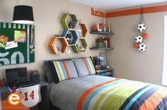 Grey gray orange green sports football themed teenage boys room