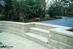 Distributors of paving and retaining wall products. Retaining Wall Fence, Building A Retaining Wall, Landscaping Retaining Walls, Front Yard Landscaping, Landscaping Ideas, Garden Structures, Garden Paths, Bush Garden, Landscape Walls