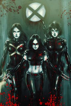 X-Force - Psylocke, X-23, and Domino    this looks like me and my peeps when we step in the spot