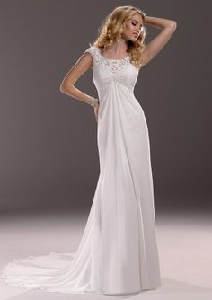 A-Line Cap Sleeve Scoop Pleated Button Bridal Dresses