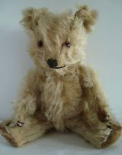 "RARE SIZE Vintage old Chiltern Hugmee mohair teddy bear, velvet pads, 1950s, 9"""