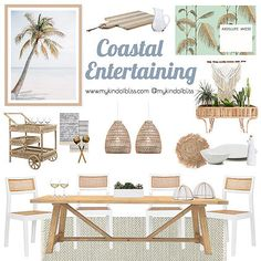 Pull up a chair and relax with friends and family at this coastal inspired dining space. The perfect place for all entertainers, everything is waiting for you to host your next lunch or dinner party. Room Interior, Interior Design Living Room, Living Room Decor, Interior Design Boards, Family Room Design, Dining Room Design, Deco Bobo, Beach House Decor, Coastal Decor