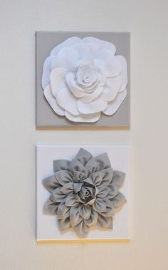 Nursery Wall Decor - TWO Wall Flowers -Gray Dahlia on White .- Nursery Wall Decor – TWO Wall Flowers -Gray Dahlia on White and White Rose on Gray- 12 Canvas Wall Art- Baby TWO Wall Flowers Gray Dahlia on White and White Rose by bedbuggs - Shabby Flowers, Felt Flowers, Fabric Flowers, Paper Flowers, Dahlia Flowers, Flower Colors, Flower Bouquets, Bridal Bouquets, Baby Wall Art