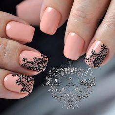 2019 Pink Nails Ideas In Fall and Winter - Page 13 of 68 - Fashion Yard Pink Nail Art, Nail Art Diy, Beautiful Nail Designs, Beautiful Nail Art, Pretty Nails, Fun Nails, Lace Nails, Elegant Nails, Square Nails
